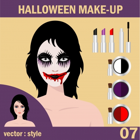 dead girl: Halloween concept   Beautiful young woman in day of the dead mask skull face art  Halloween face art  vector illustration
