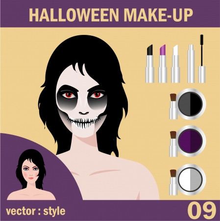 makeup artist: Halloween concept   Beautiful young woman in day of the dead mask skull face art  Halloween face art  vector illustration