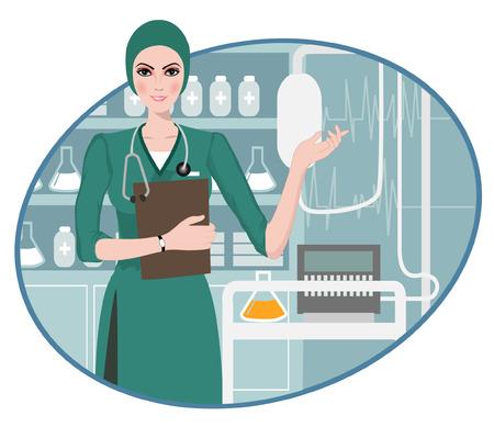 enfermera con cofia: m�dico joven apuntando con el dedo �ndice hacia arriba, guiando a la informaci�n, con una m�scara de recorte sujetapapeles se utiliza en el archivo EPS