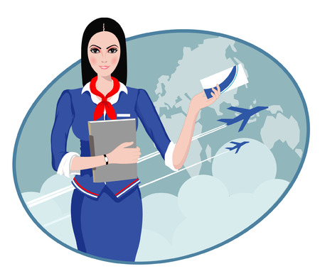 cabin attendant: Air Travel  Air hostess holding ticket to the flight, presenting her company s services