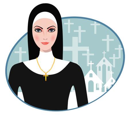 clergy: Ilustraci�n vectorial de la hermosa monja