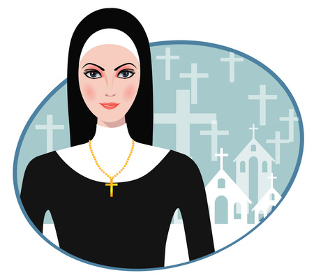 Vector illustration of Beautiful nun Vector