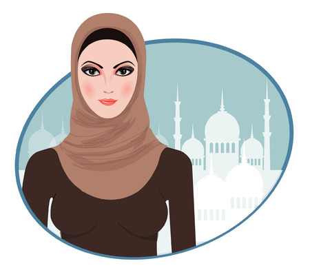 iranian: Portrait of muslim beautiful girl in hijab, vector illustration  Illustration