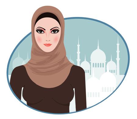 Portrait of muslim beautiful girl in hijab, vector illustration  Illustration