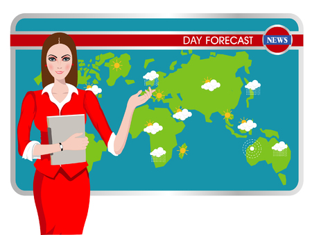 newscast: Vector illustration of a TV weather reporter at work