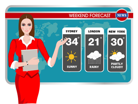 weather report: Vector illustration of a TV weather reporter at work