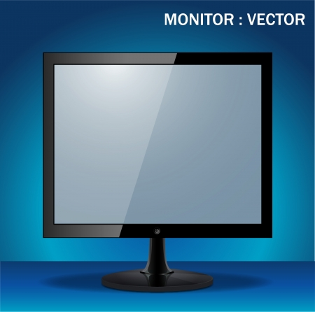 computer display isolated on blue background  Stock Vector - 22717765