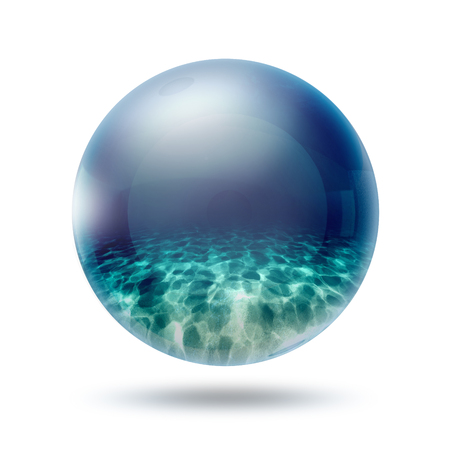A glass transparent ball with underwater inside it   photo