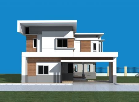 3D render of modern building with blue background  Imagens