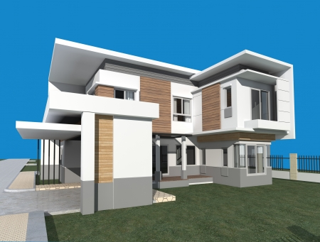 3D render of modern building with blue background  Stock Photo