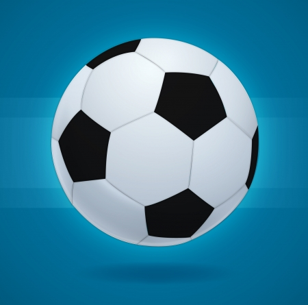 achivement: Simple style football   soccer ball on blue background