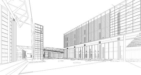3D wireframe of building  Stock Photo