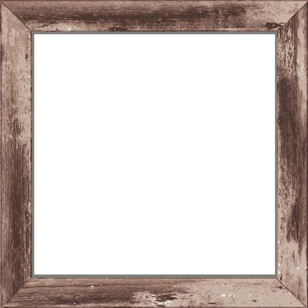 Houten rechthoekige 3D-fotolijstje met schaduw Vector illustratie