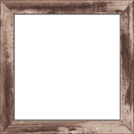 Wooden rectangular 3d photo frame with shadow  Vector illustration