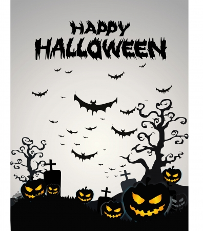 pumpkin face: Halloween Background with ghost ,pumpkins in the Grass Bats and Moon in the dark