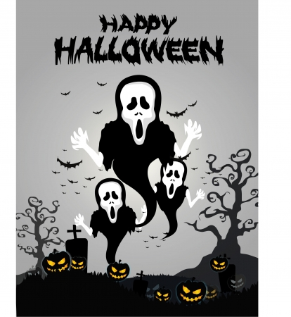spooky graveyard: Halloween Background with ghost ,pumpkins in the Grass Bats and Moon in the dark