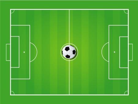 corner kick: Soccer field and soccer ball - Vector illustration  Illustration