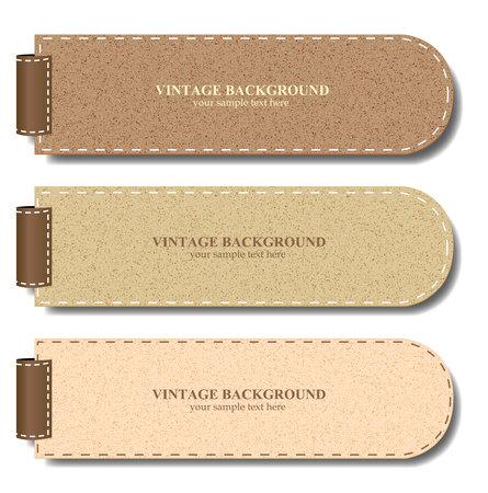 leather label: Vintage paper set for banner or product promotion - Vector illustration  Illustration
