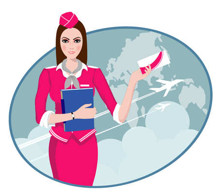 Air Travel  Air hostess holding ticket to the flight, presenting her company s services  Vector