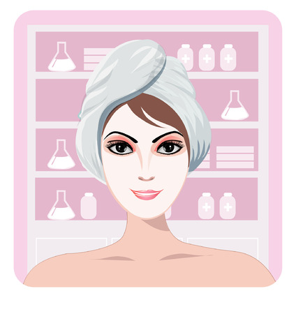 Cute girl with a cosmetic mask on her face