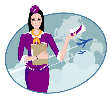 flight crew: Air Travel  Air hostess holding ticket to the flight, presenting her company s services  Illustration