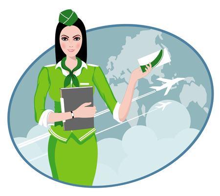 Air Travel  Air hostess holding ticket to the flight, presenting her company s services Stock Vector - 22951141