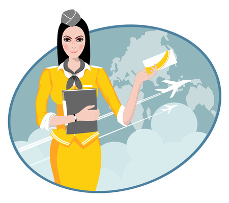 Air Travel  Air hostess holding ticket to the flight, presenting her company s services  Stock Vector - 22951142