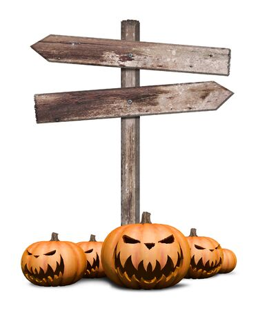scarry: Halloween pumpkin with Old weathered wood sign isolated on white