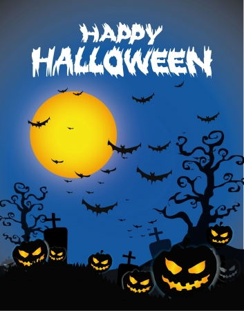 Halloween Background with ghost ,pumpkins in the Grass Bats and Moon in the dark  Vector