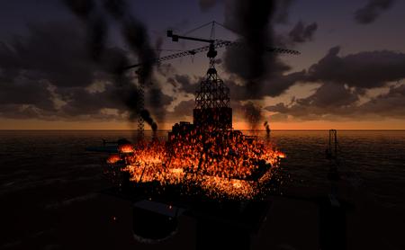 torres petroleras: Llama en las plataformas en el Golfo de Tailandia