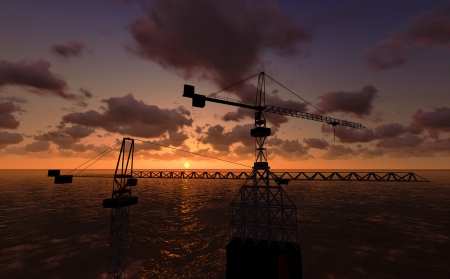 subsea: Sea Oil Platform in the Sunset 3D render