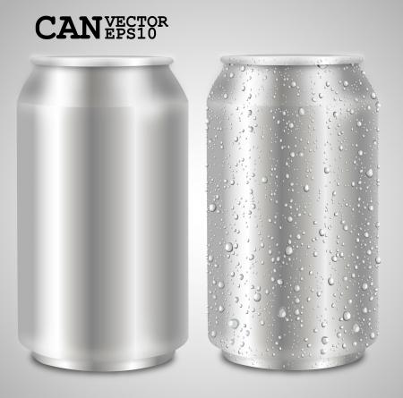 aluminum cans isolated on white  Ilustração