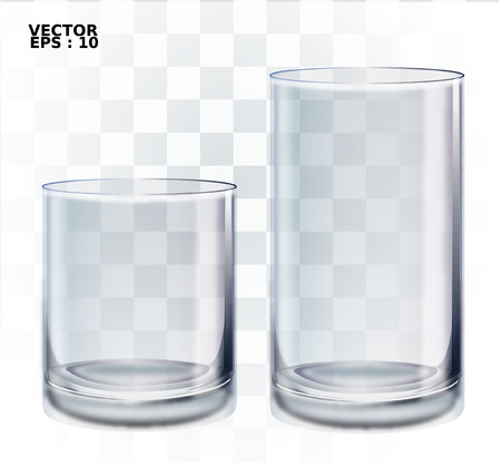 Empty drinking glass cup  Transparent glass   Vectores