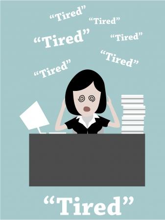 illustration of Businesswoman working hard