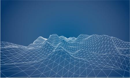 컨투어 소용돌이의 3D 와이어 프레임