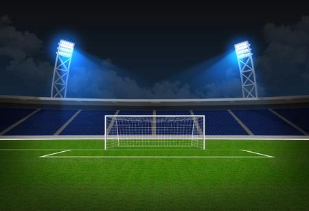 Soccer stadium, soccer ball on green stadium, arena in night illuminated bright spotlights