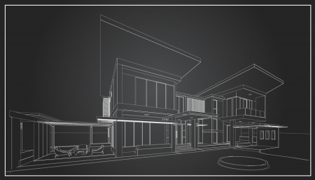 3D wireframe of building  Vector