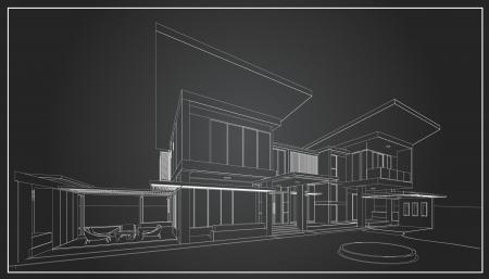 Filaire 3D de bâtiment