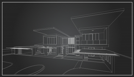 architectural rendering: 3D wireframe of building  Illustration