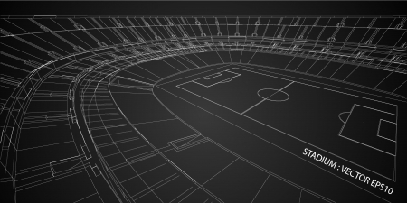 architectural drawing: 3D wireframe of stadium