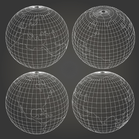 wireframe globe: wireframe and earth model