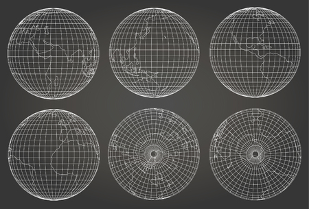 wireframe and earth model