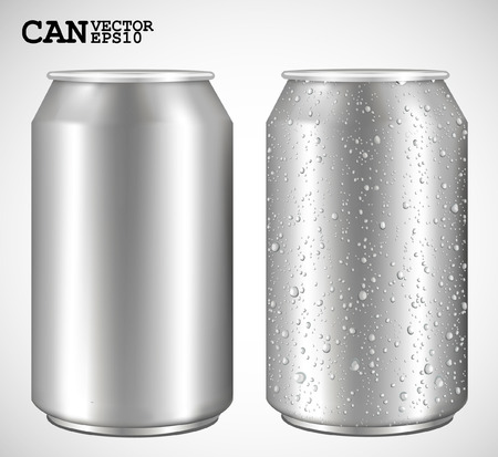 water can: Aluminum cans, Realistic vector  Illustration