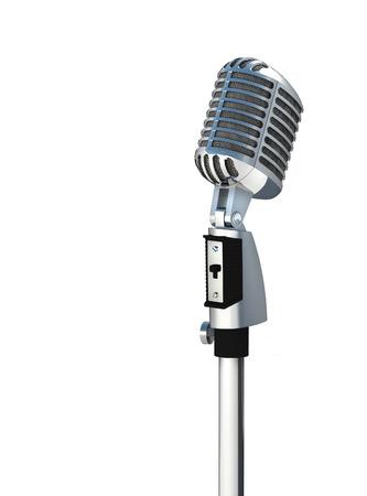 microfono antiguo: Micrófono de plata de la vendimia aislado en el fondo blanco Foto de archivo