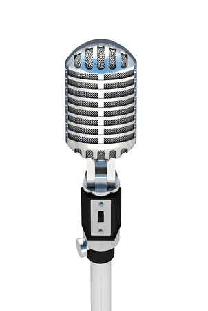 Vintage silver microphone isolated on white background  photo