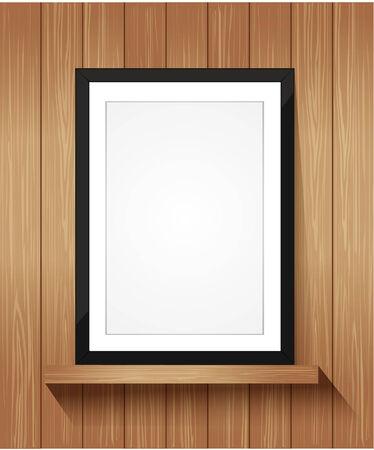 �tag�re bois: Cadre photo sur �tag�re en bois, avec copie espace - Vector