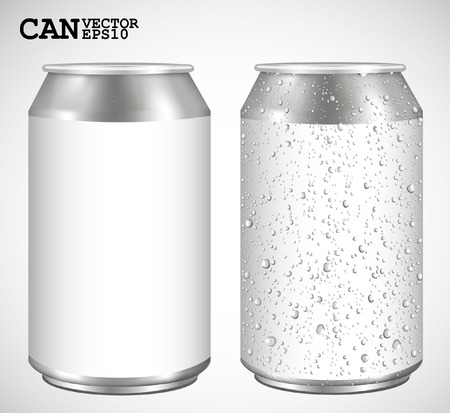 beer can: Aluminum cans, Realistic vector  Illustration