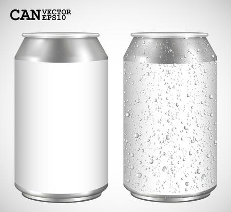 lata de refresco: Latas de aluminio, vector Realista
