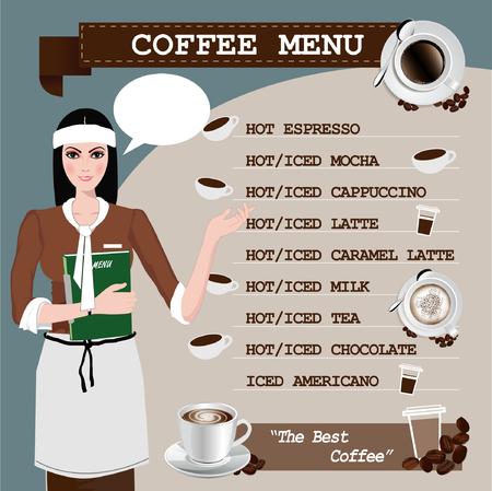 tasse caf�: menu caf� avec une tasse, fille de caf� Illustration