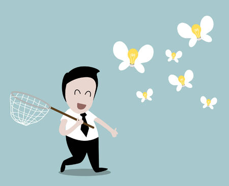 happy businessman and flying light bulb  Vector